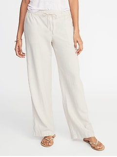 642f8743ffc1 Mid-Rise Wide-Leg Linen-Blend Pull-On Pants for Women