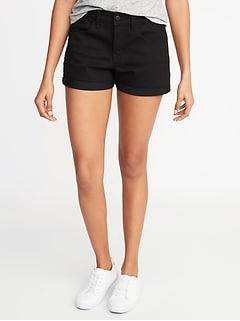 Mid-Rise Black Denim Shorts for Women - 3-inch inseam