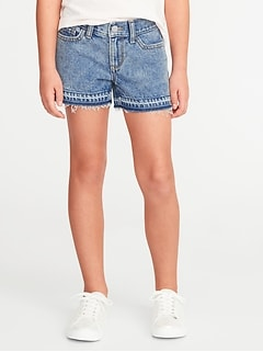 Let-Down Hem Denim Cut-Offs for Girls