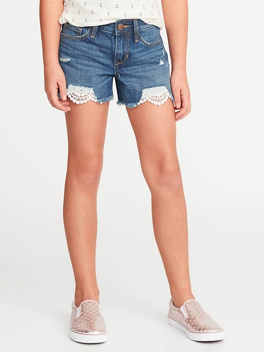 Distressed Lace-Trim Cut-Off Shorts for Girls
