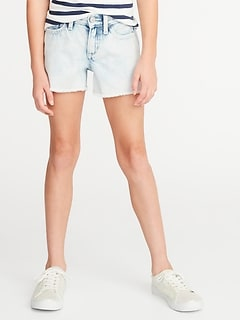 Acid-Wash Distressed Denim Cutoffs for Girls