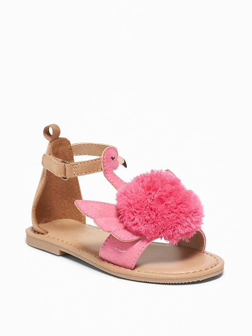 Flamingo Pom Pom Sandals For Toddler Girls by Old Navy