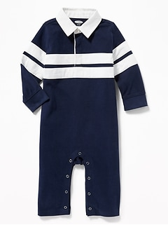 Striped Rugby One-Piece for Baby