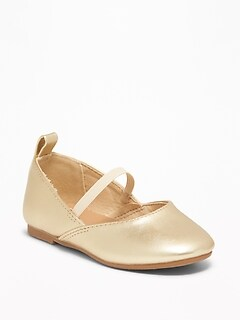 Metallic Faux-Leather Ballet Flats For Toddler Girls