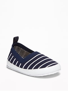 Striped Textured-Knit Slip-Ons for Baby