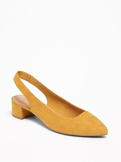 Faux-Suede Sling-Back Mid-Heel Shoes for Women