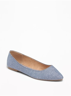 Chambray Pointy-Toe Ballet Flats for Women