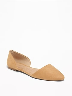 Faux-Suede D'Orsay Flats for Women