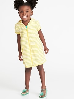 649575df075f1 Loop-Terry Hooded Zip Front Swim Cover-Up for Toddler Girls
