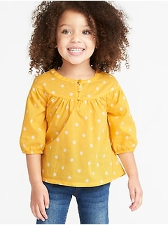 Printed Button-Front Swing Blouse for Toddler Girls
