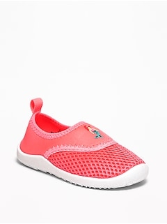 Mermaid-Graphic Mesh Water Shoes For Toddler Girls