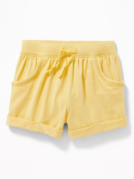 Functional-Drawstring Jersey Shorts for Toddler Girls