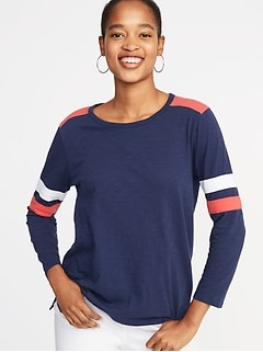 Relaxed Football-Style Slub-Knit Tee for Women 18dd131430c