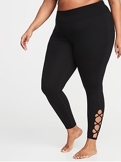 High-Rise Plus-Size 7/8-Length Lattice-Hem Leggings