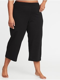 Mid-Rise Plus-Size Wide-Leg Yoga Crops