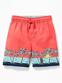 Scenic-Print Swim Trunks for Toddler Boys