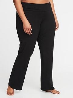 Roll-Over 4-Way-Stretch Plus-Size Yoga Pants