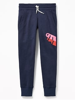 Graphic Slub-Knit Joggers for Girls