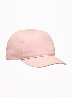 Pink Twill Bow-Tie Baseball Cap For Toddler Girls