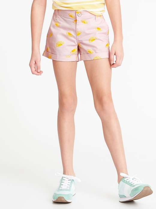 Printed Twill Chino Shorts For Girls