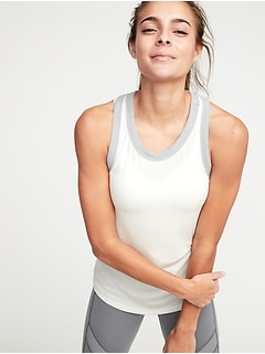 Semi-Fitted Rib-Knit Racerback Tank for Women
