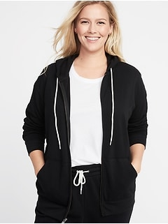 Relaxed Plus-Size Zip Hoodie