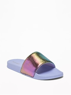 Iridescent Pool Slide Sandals for Girls
