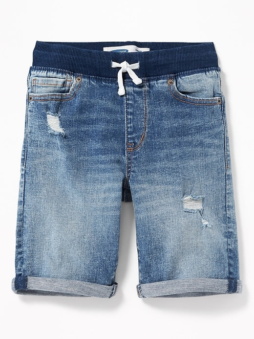 Karate Rib-Knit Waist Distressed Jean Shorts For Boys
