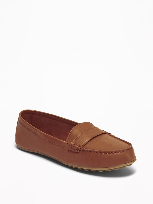 Faux Leather Driving Moccasins For Women by Old Navy