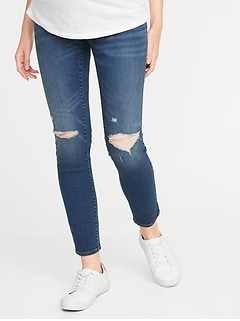 Maternity Full Panel Distressed Rockstar Jeans
