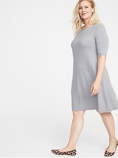 34f7f03943dae1 Jersey Elbow-Sleeve Plus-Size Swing Dress
