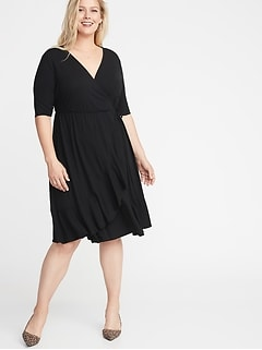 Waist-Defined Faux-Wrap Jersey Plus-Size Dress