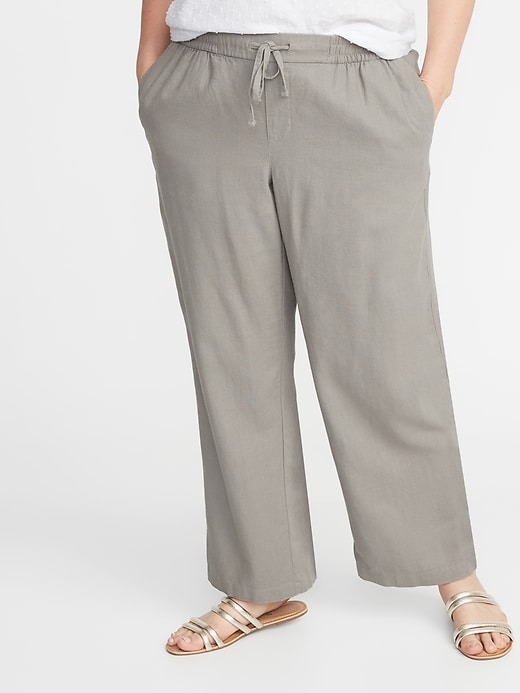 Plus Size Wide Leg Linen Blend Pants by Old Navy