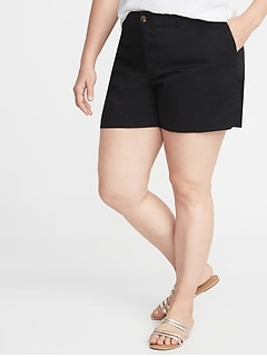 Mid-Rise Plus-Size Everyday Twill Shorts - 5 Inch Inseam
