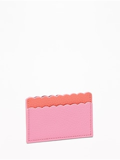 Scalloped-Edge Faux-Leather Card Holder for Women