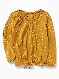 Slub-Knit Off-the-Shoulder Tie-Hem Top for Girls