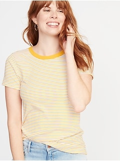 Slim-Fit Striped Crew-Neck Tee for Women