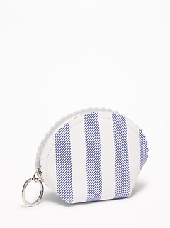 Scalloped Faux-Leather Coin Purse for Women