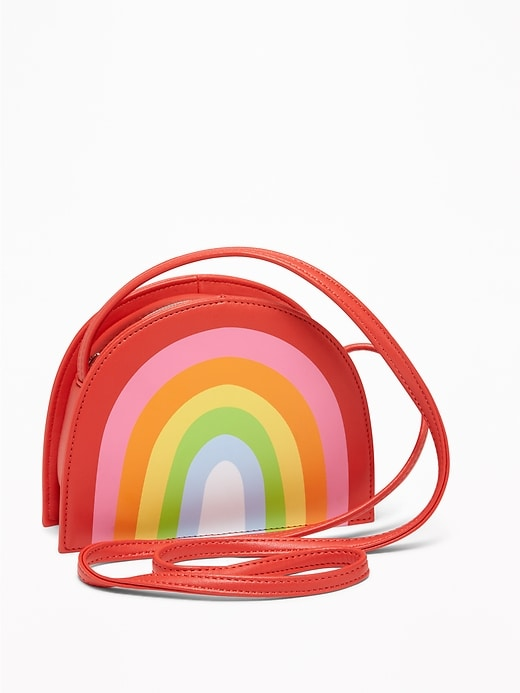 Faux-Leather Rainbow Crossbody Bag for Girls