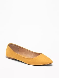 Faux-Suede Pointy Ballet Flats for Women