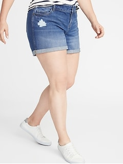 Plus-Size Boyfriend Denim Distressed Shorts - 5-inch inseam