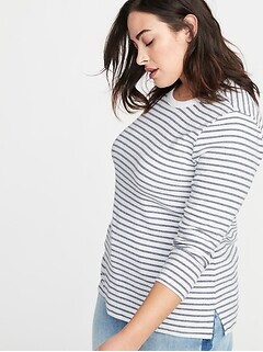 Slim-Fit Plus-Size Brushed-Knit Striped Top