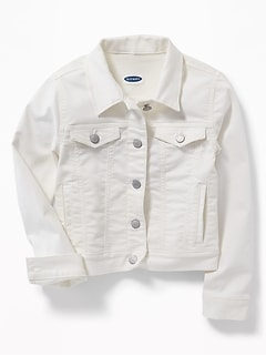 Clean-Slate White Jean Jacket For Girls