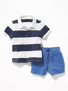 Patterned Polo & French Terry Shorts Set for Baby