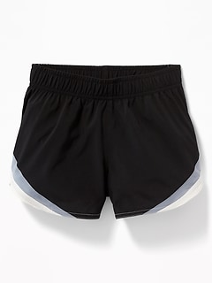 Go-Dry Cool Color-Blocked Run Shorts for Girls