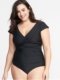 Wrap-Front Secret-Slim Tie-Back Swimsuit