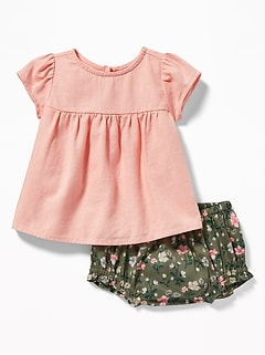 Linen-Blend Top & Bloomers Set for Baby
