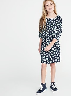 Floral-Print Swing Dress for Girls