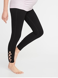 Maternity Lattice-Hem 7/8-Length Yoga Pants
