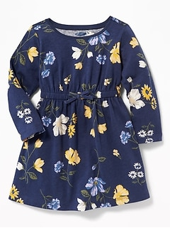 Waist-Defined Floral Dress for Baby